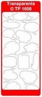 TP1608TZ Stickers Tekstballonnen Transparant Zilver