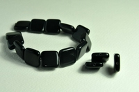 5020144  5 X Glaskraal vierkant zwart 16x16mm