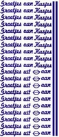 ST084WM Stickers Groetjes van/Kusjes Wit/Multi