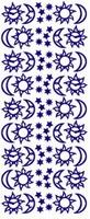 ST128Z Sticker Zon,maan,sterren Zilver