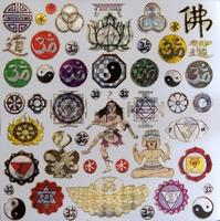 STG314 Yin & Yang en Budha afm.Stickervel 15 X 15 CM
