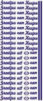 ST084G Stickers Groetjes van/Kusjes Goud