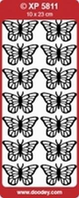 XP5811HG Stickers Vlinders  Holografische Goud