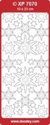 XP7070TRZ Stickers Kerststerren Transparant-Zilver