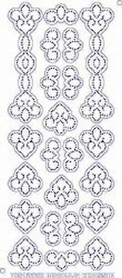 7001/0002 Borduurstickers Ornamenten -  Transparant.Zilver