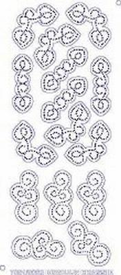 7001/0003 Borduurstickers Ornamenten -  Transparant Zilver