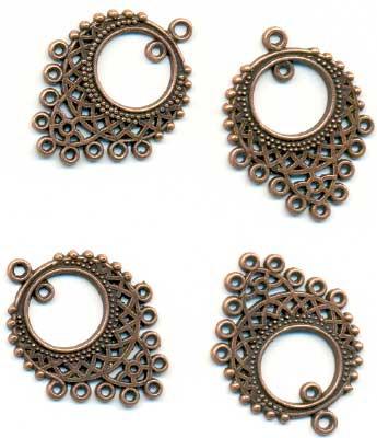 11808-7033 Metalen ornament koper 24x33 mm 4 stuks