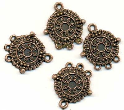 11808-7053 Metalen ornament koper 20mm 4 stuks