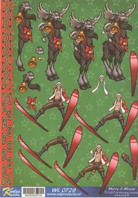 WL0729 Merry X-Moose Kerstman/Rendier