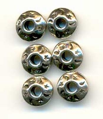 10303-8008 6 Kraal metaal ufo maan/ster zilver