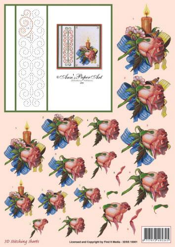 3DSS10001 Ann's Paper Art Kerst Roos Borduren