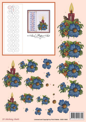 3DSS10002 Ann's Paper Art Kerst Kaars Borduren
