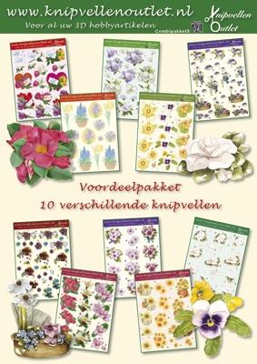 COM05 Voordeelpakket met 10 Bloemen 3D vellen