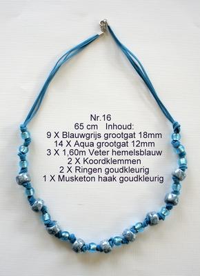 K16 Ketting van glaskralen om zelf te maken 65 cm