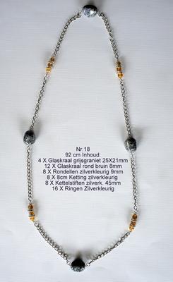 K18 Ketting van glaskralen om zelf te maken 92 cm