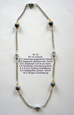 K19 Ketting van glaskralen om zelf te maken 82 cm