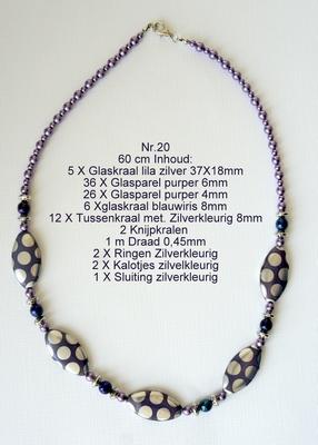 K20 Ketting van glaskralen om zelf te maken 60 cm