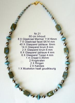 K21 Ketting van glaskralen om zelf te maken 60 cm