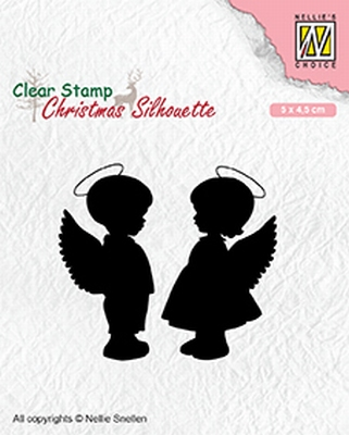 CSIL008 Christmas silhouette clear stamps Angelgirl and -boy