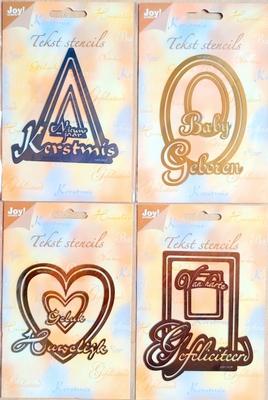4 Tekststencils van Joycrafts