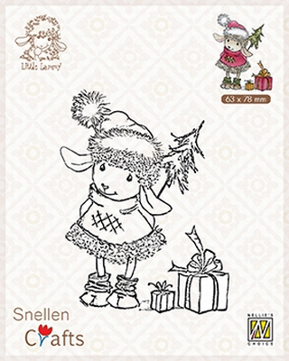 SCLOLA001 Clear stamps Little Lammy Happy with presents