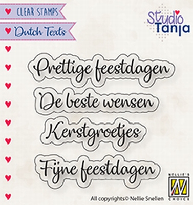 DTCS025 Clear stamps Dutch texts Prettige Feestdagen etc..