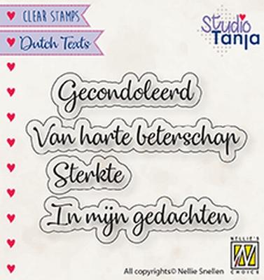 DTCS029 Clear stamps Dutch texts Gecondoleerd etc..