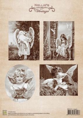 NEVI013 Knipvel A4 Christmas vintage Angels