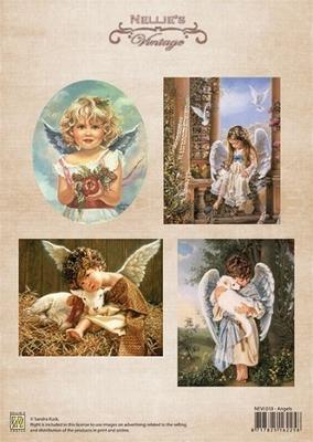 NEVI018 Knipvel A4 Christmas colour vintage Angels