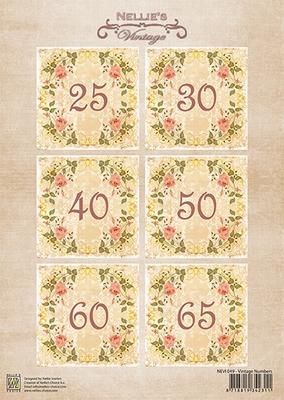 NEVI049 Decoupage sheets A4 Vintage Numbers-1