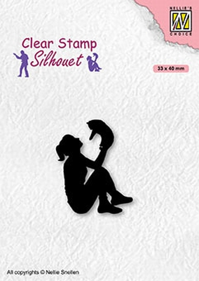 SIL090 Clear stamps Teenagers serie Teengirl with cat