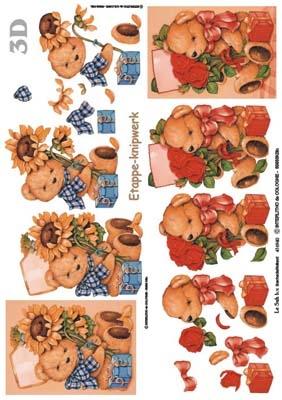 416940 - 3D  Beertjes met bloemen