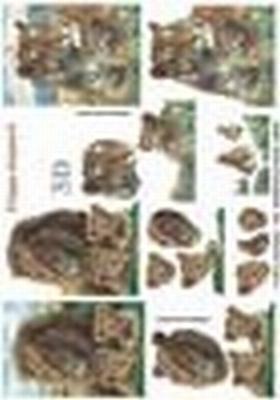 416944 - 3D  Leeuw en tijger met welpen