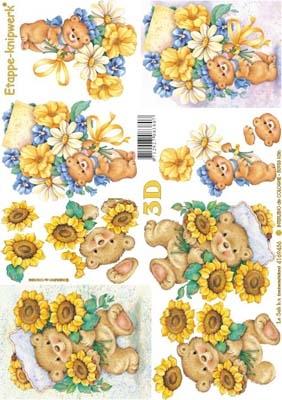 4169436 LeSuh 3D Beertje/Bloemen