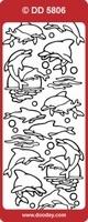 DD5806Z Stickers Dolfijnen Zilver