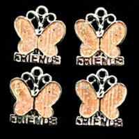 11808-1203 Hanger Roze Vlinder 15mm 4 stuks