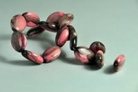 5020084 10 X Glaskraal  roze/grijs 16x11mm