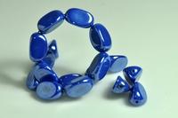 5020103 10 X Glaskraal  parelmoer mid.blauw 17x12mm