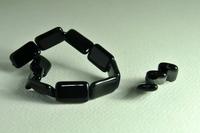 5020153  15 X Glaskraal zwart rechthoek 19x12 mm