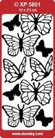 XP5801TZ Stickers Vlinders Transparant Zilver