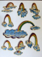 STE203 Regenboog  afm.stickervel 10 X 7,50 CM