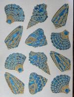 STE212 Schelpen Blauw/Goud  afm.stickervel 10 X 7,50 CM