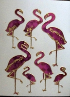 STE240 Flamingo  afm.stickervel 10 X 7,50 CM