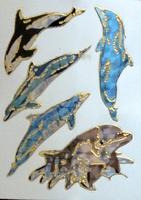 STE252 Dolfijnen  afm.stickervel 10 X 7,50 CM