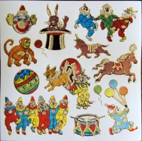 STG324 Clown afm.Stickervel 15 X 15 CM