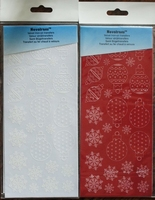 60014RW Velvet strijkstikker Velours rood en wit Kertfiguren