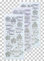 617414  Leane Creatief stickers Glitter Zilver Thea & Cupcak