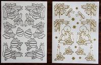 8081 Stickers 2 St Afm. elk 15 X 20cm Kerst goud en zilver
