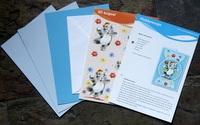 A5 Knipvel met 3 vellen A5 karton 1 Envelop en beschrijving