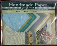 Handmade Paper met Embellisments Green